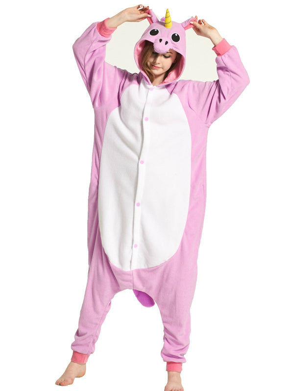 Animal Cartoon Conjoined Pajamas Purple Unicorn