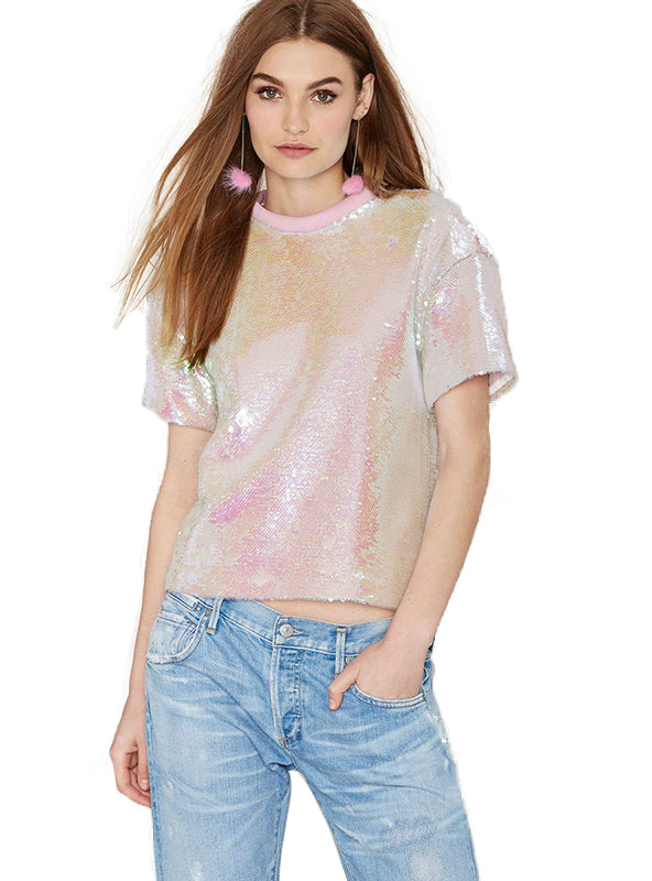 Short Sleeve Solid Pink Sequined Lady Top O-neck