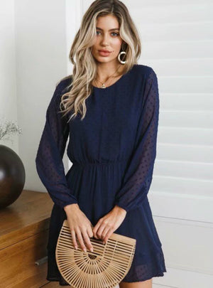Long Sleeve Polka Dot Dress Solid Short Chiffon Dress