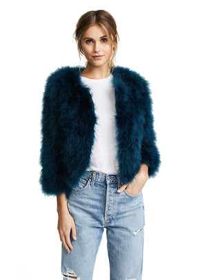 Blue Faux Fur Elegant Women Coats Covered Button