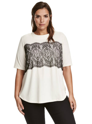 Solid Lace T-shirt Short Sleeve Tops Tees O-Neck