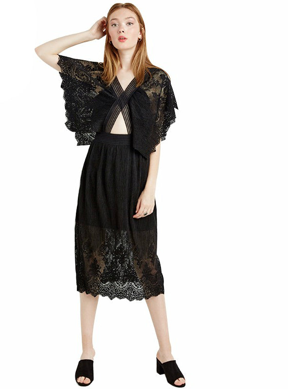 V Neck Dress Black Lace Backless Midi Dress Party