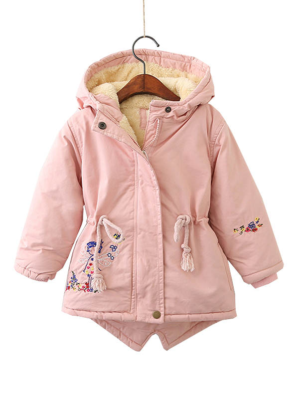Embroidery Girls Winter Jackets Coat Lace up