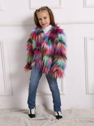 Children's Fur Colorful Fox Fur Girl's Coat