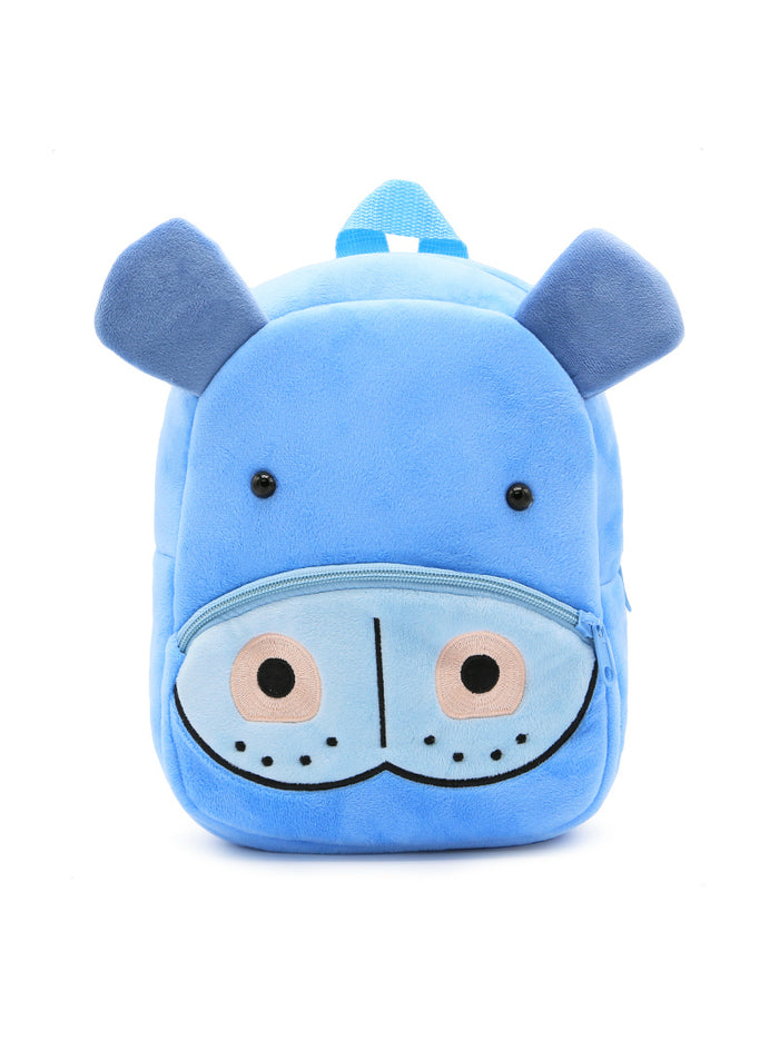 3D Cartoon Blue Hippo Plush Children Backpacks