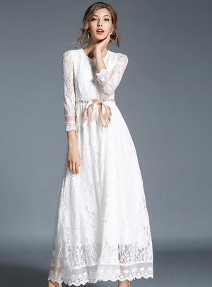 Lace Dress Solid White Ribbon Maxi Party Dress