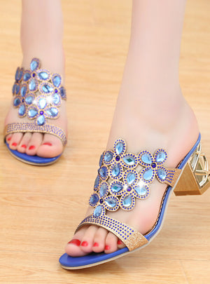 Rhinestone Slipper Sexy Hollow Out Chunky Sandals
