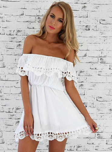 Sweet Lace White Dress Stylish Sexy Slash Neck