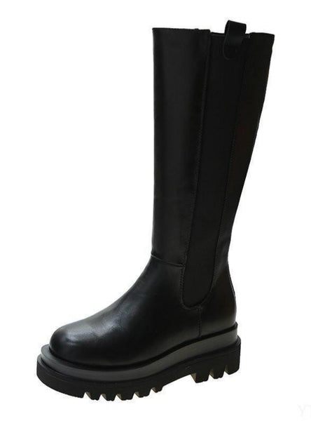 Knee High Boots Women Shoes Natural Genuine Leather