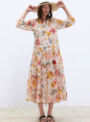 Women Vintage Floral Print Casual Loose Long Dress