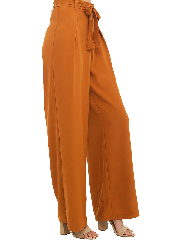 Orange Wide Leg Chiffon Pants High Waist Tie Waist