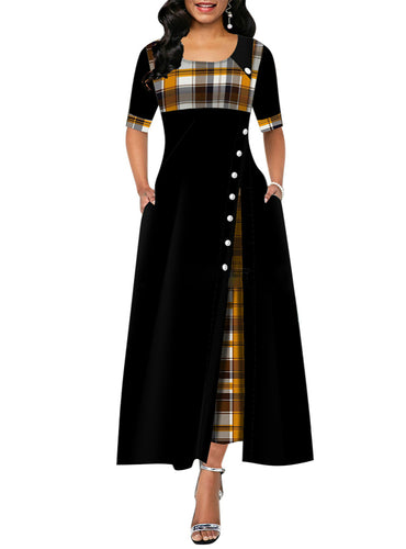 Plaid Print Party Dress Irregular Vintage Dresses