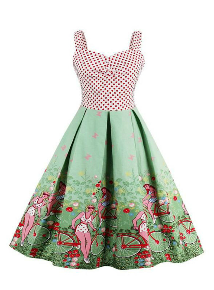 Rockabilly Sleeveless Polka Dot Floral Print