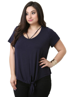 Solid Basic T-shirt O-Neck Tied Loose T-shirt