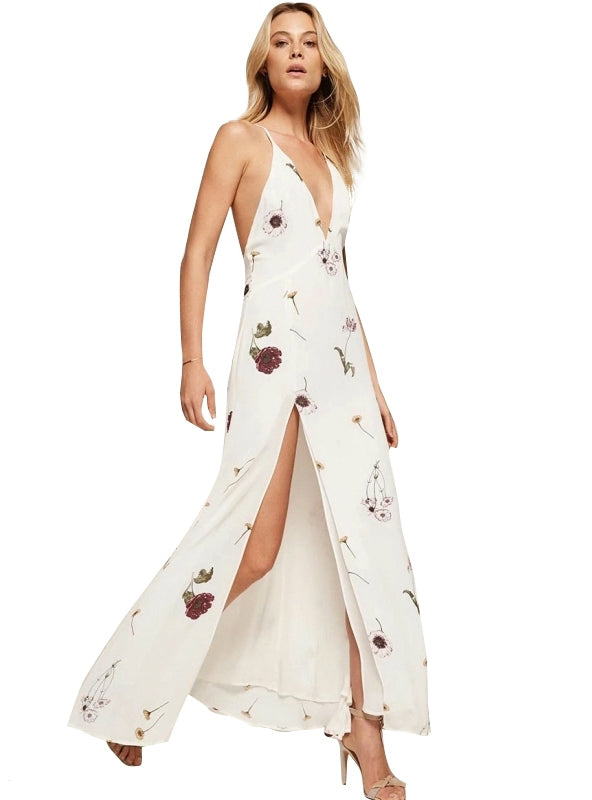 Boho Floral Print V Neck Split Maxi Chiffon Dress