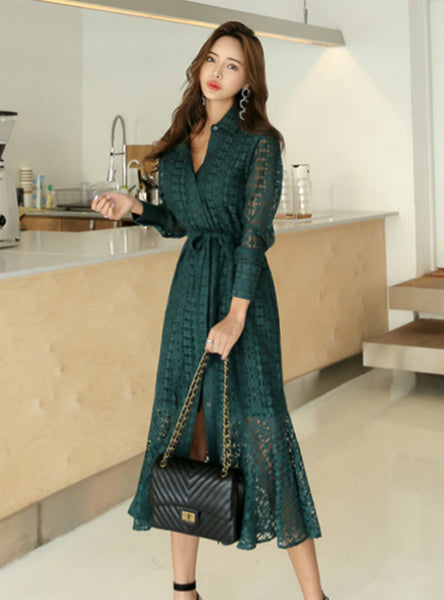 Bandage Elegant Mermaid Female Dress Full Sleeve
