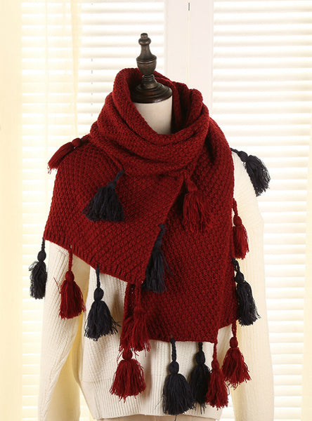 Cashmere Female Tassel Wool Ball Warm Knit Scarf