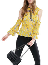 Floral Print Blouse Sexy Cold Shoulder Wraps Office