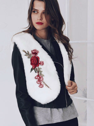 Women's Short Embroidered Faux Fur Waistcoat