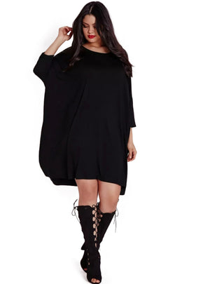 Casual Brief Solid O-Neck Loose Plus Size Dress