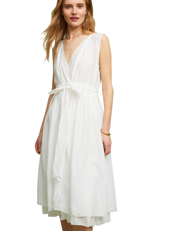 V-neck Dress White Sleeveless Cold Shoulder Midi Dress