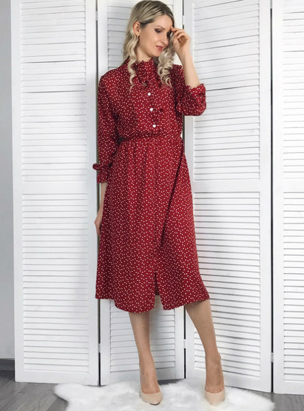Polka Dot Chiffon Women Dress Flare Sleeve Side Split