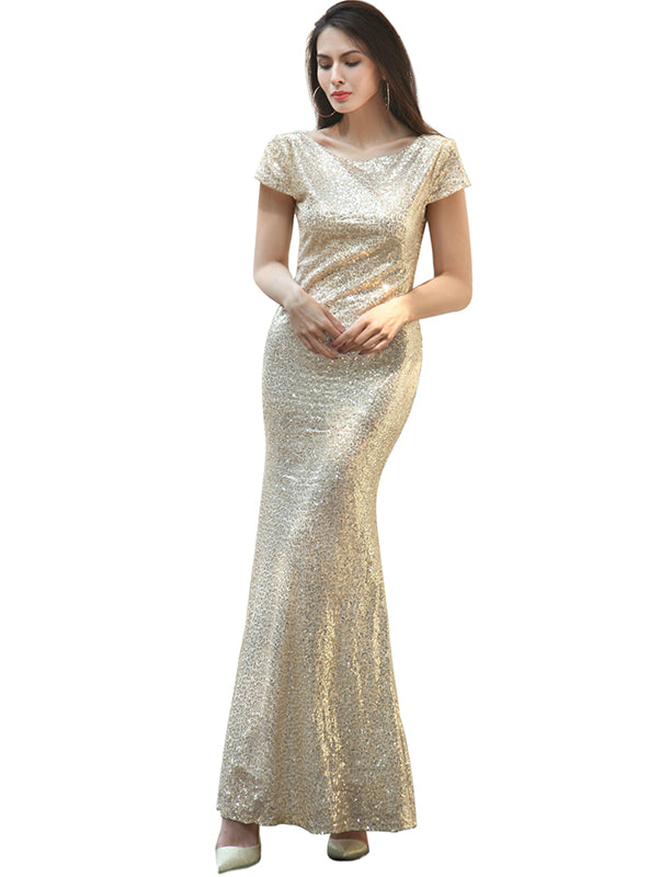 Backless Fishtail Sequin Ladies Wedding Bridesmaid Dresses