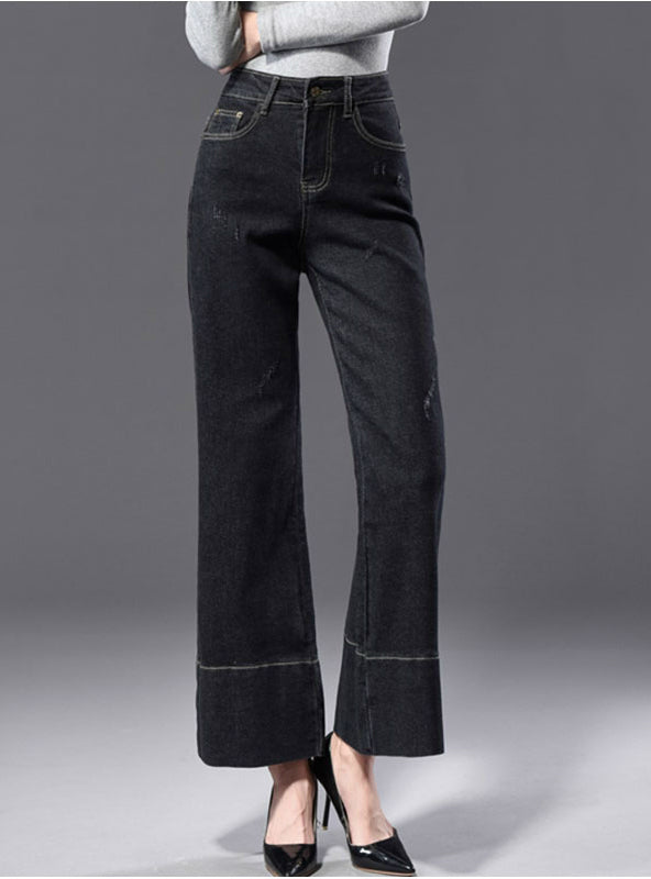 Bottom Stripe Wide Leg Black Capris Jeans