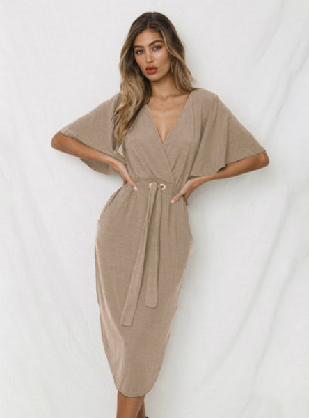 A Loose Dress With Deep V Neck Dress