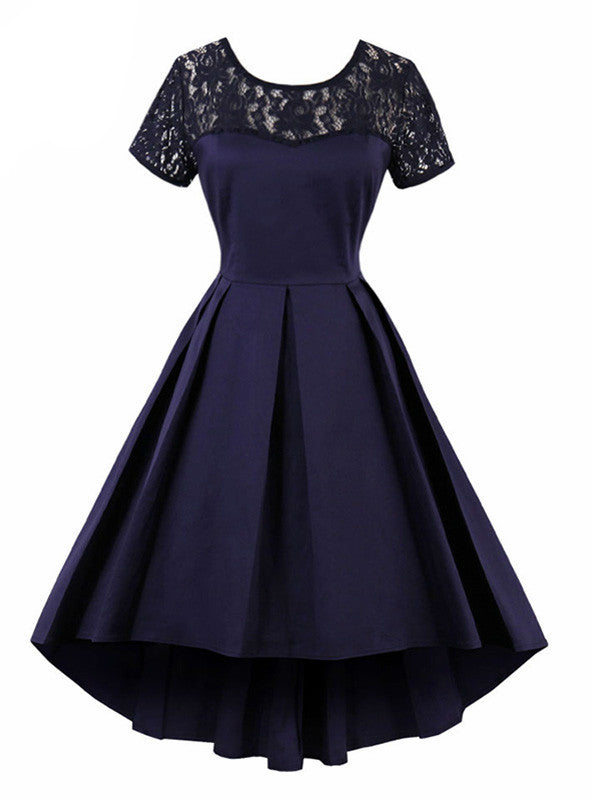 Short Sleeve Lace Vintage O-neck Party Swing Dress