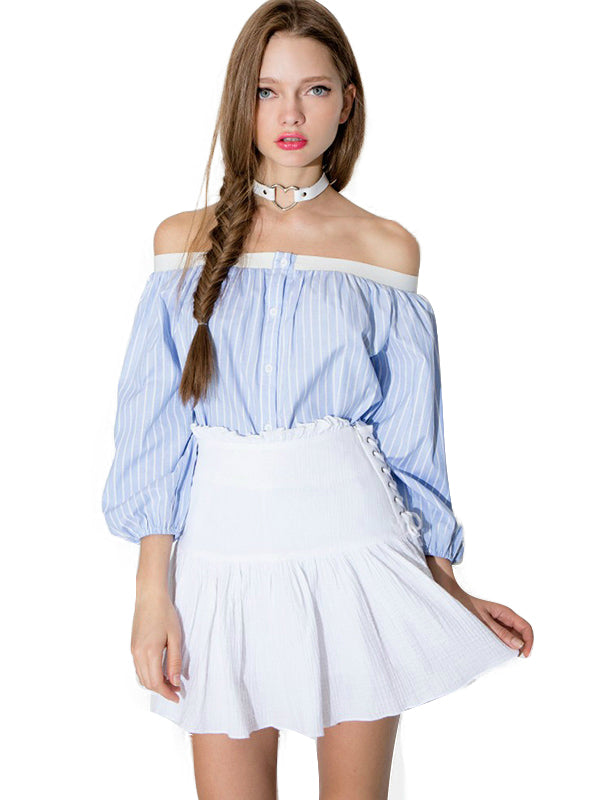 Off Shoulder Lantern Sleeve Sexy Striped T-shirt