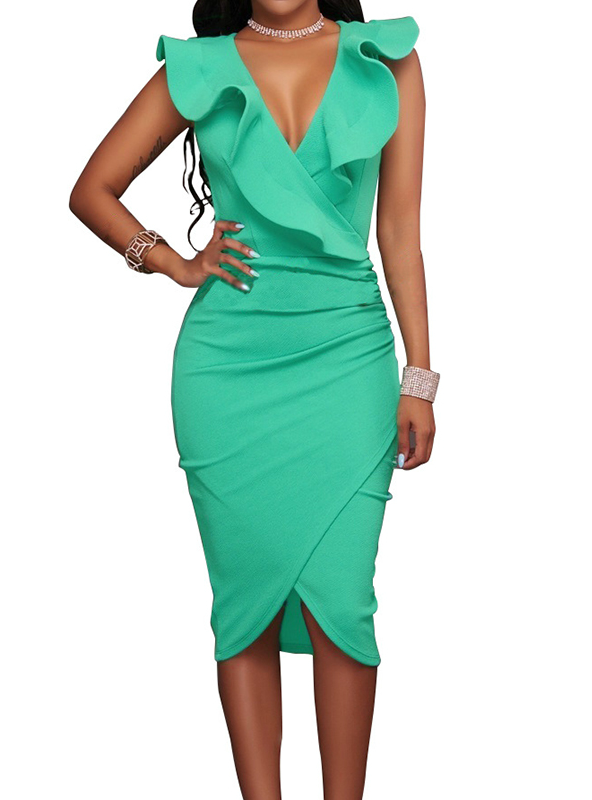 V Neck Pencil Party Dresses Ladies Ruffles Bodycon