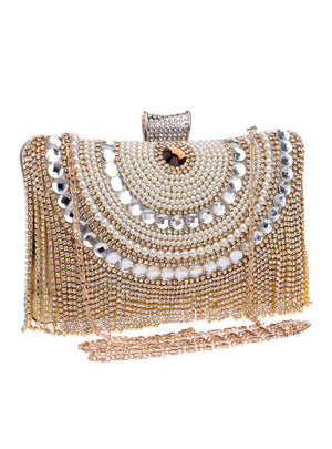 Rhinestones Tassel Clutch Diamonds Beaded Metal Evening Bags