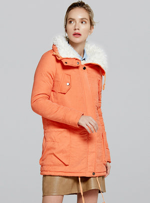 Long Cotton-padded Jacket Warm Cclothes With Hat