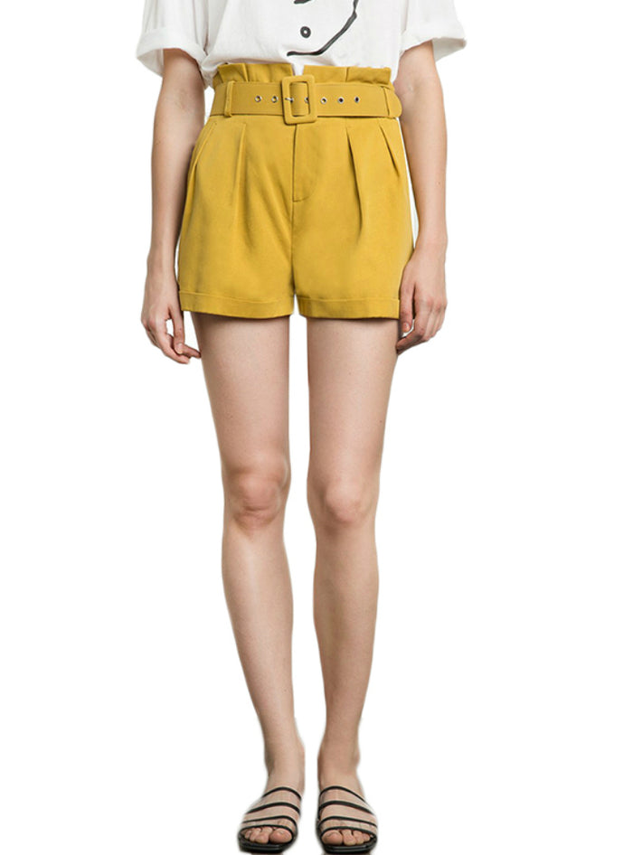 Yellow Shorts Women High Waist Belt Pockets
