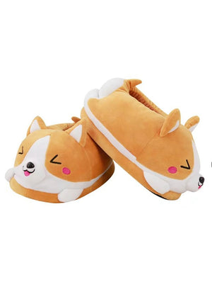 Koi Dog Slippers Cartoon Cute Double Warm Plush