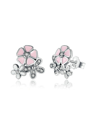 925 Sterling Silver Cherry Blossom Drop Earring