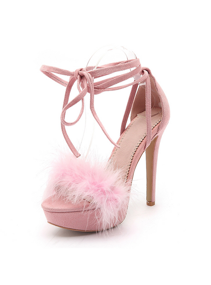 High Heels Platform Sandals Lace Up Pink Shoes