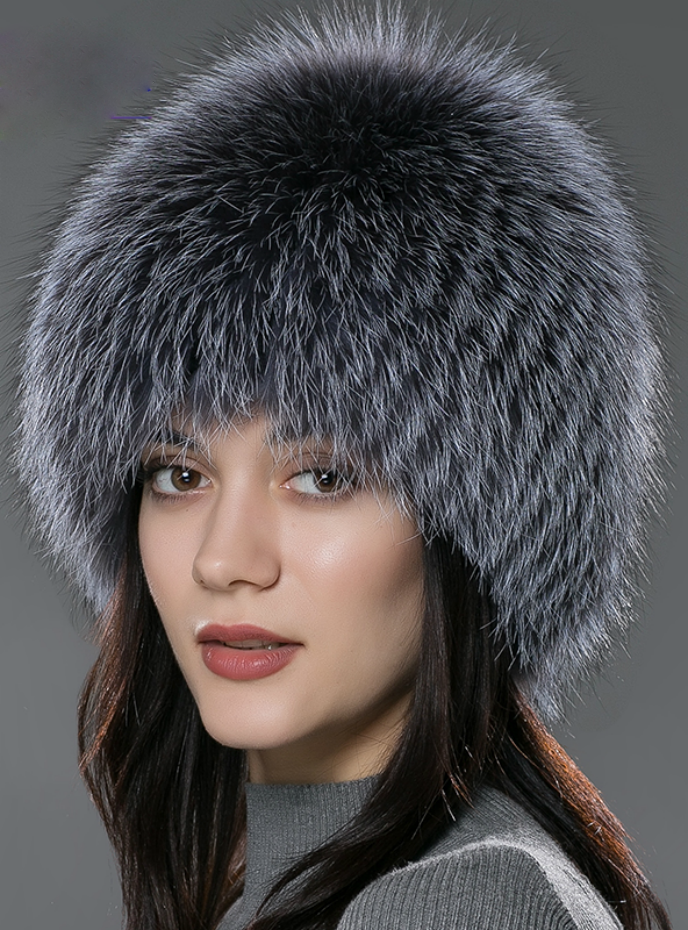 Fur Hat Genuine Fox Fur Hats Knitted Silver