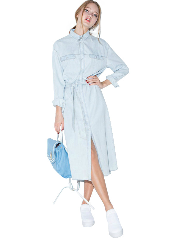 Front Belt Casual Women Blue Midi Shirt Dress