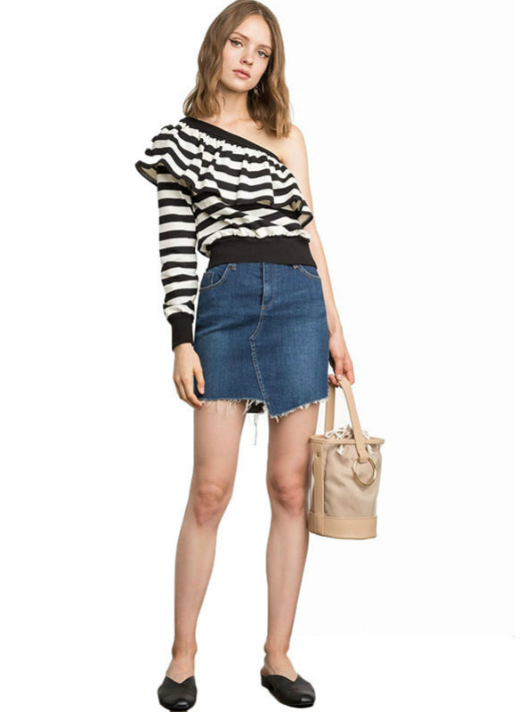 Black White Stripe Women T-shirts Off Shoulder Ruffles
