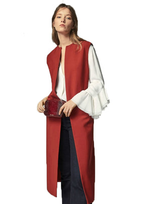 Red Elegant Vests Double Pockets O-Neck OL Lady
