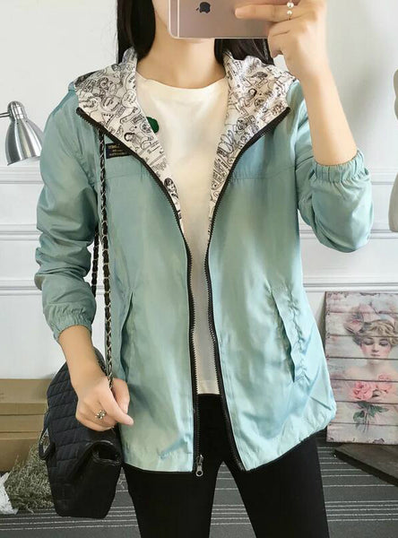 Bomber Basic Jacket Pocket Zipper Hooded Two Side