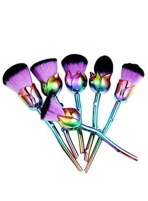 6pcs Rose Flower Makeup Brush Sets Purple Easy