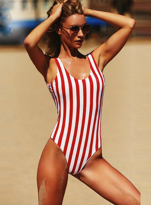 Swimsuit One Pieces Swimwear Female Stripe