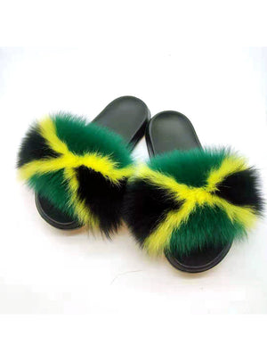 Women Green Yellow Fox Fur Slippers Real Fur Slides