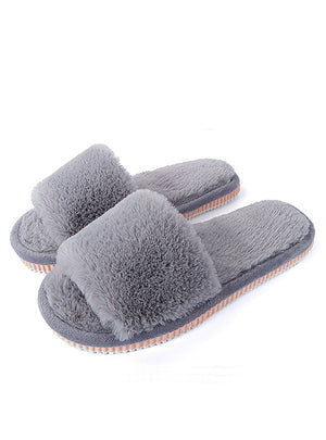 Womens Fur Slippers Winter Shoes Big Size Home Slippers Plush