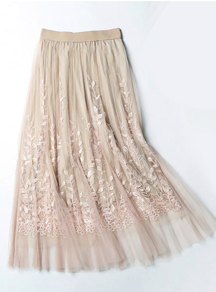 Embroidery A-line Tutu Lace Mesh Skirt