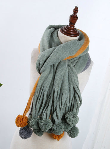 Cashmere Scarf Female Wool Ball Knitted Scarf