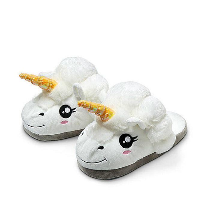 1Pair Plush Unicorn Slippers For Grown Ups